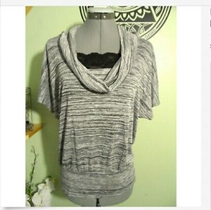 IZ BYER Cowl Sweater Top L Gray melange T-shirt SS